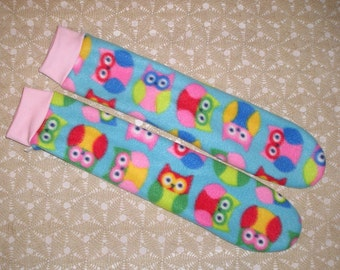 Fleece socks. Owl socks. Blue with bright colors. Choice of cuff. Non-skid sole option. Mid calf length. Women 5-7. Kids 13.5-5.
