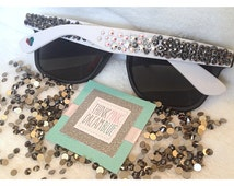 Black and White Swarovski Crystalized Sunglasses