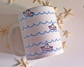 COVER phone and MUG Mug with fancy paper boats / combo