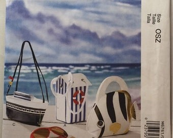 McCall's M6761 Nautical Seaside Fish, Tent and Ship Fashion Accessories Pattern Lined Purse Bags