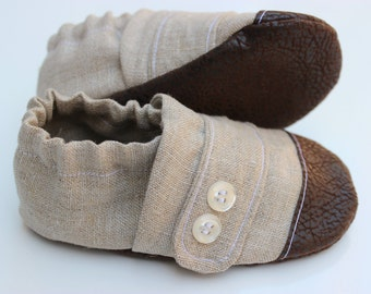 Cotton Baby Moccasin, Cloth Baby Moccasin, Soft Soled Infant Shoe, Tan Moccasin, Leather Baby Shoe, Soft Sole Baby Shoes, Newborn Moccasin