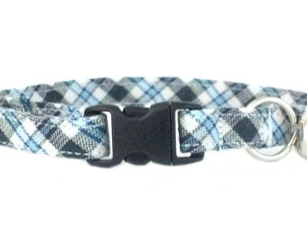 Preppy Blue White and Black Plaid Cat or Kitten Breakaway Safety Collar