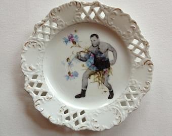 mr fancy - altered vintage plate