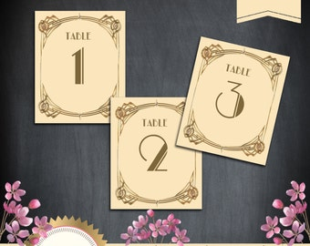 Great Gatsby Art Deco Table Cards 1-50, Table Numbers, Table Decoration -  1920's, 20's Style - Ivory and Gold - Instant Download