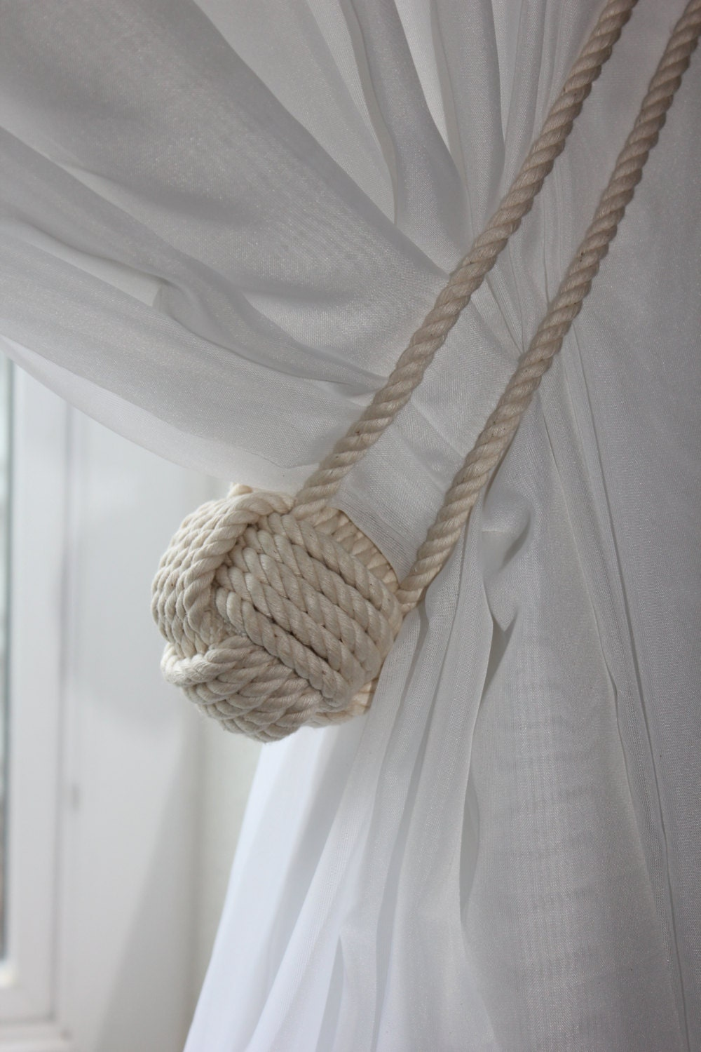 nautical rope curtain tie back shabby cottage house