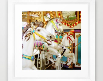 Merry Go Round Print, Carousel Photograph, Carnival Collection, Horses Photo, Fair Ride Art, Pastel Nursery Decor, Childhood Wonder Pony art