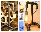 Items similar to industrial steampunk pipe lamp with for Industrial pipe light socket