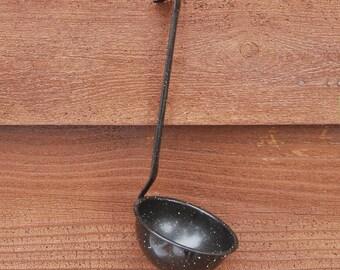 Enamelware Ladle, Vintage Black Enamel Ladle, Porcelain Enamel Scoop