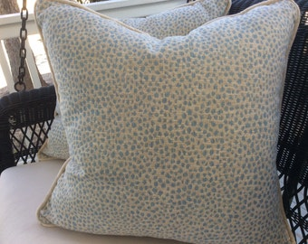 "Duralee Pillow Cover in Powder Blue ""Blue Haze"" Animal Print"