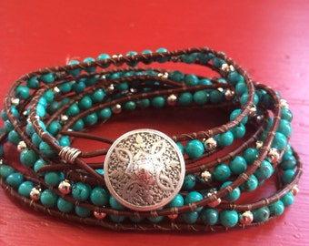 Turquoise and Silver Beaded Leather Wrap Bracelet