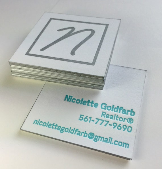 Custom Letterpress Square Business Cards by