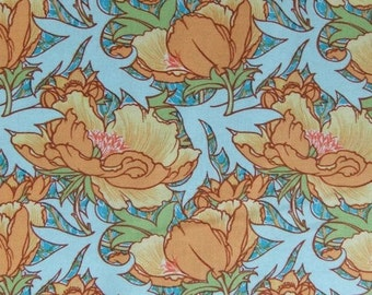 V & A Vintage Florals Flourish - Azure Quilting / Sewing Fabric