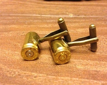 9mm Bullet  Cufflinks Antique Style - 9mm Ammo Jewelry Cufflinks - Pair
