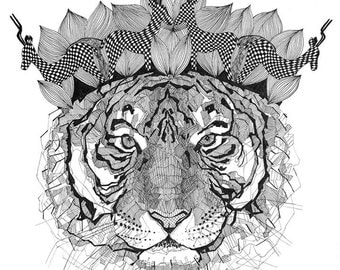 A3 poster with a tiger print. Great gift! For your home or cottage.