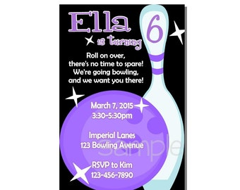 Bowling Invitation Birthday Party Purple - DIGITAL or PRINTED