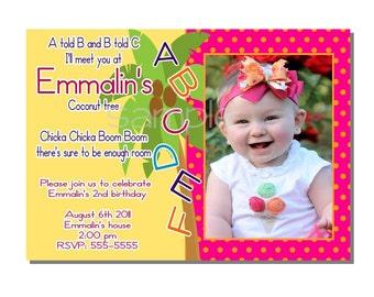 Alphabet Invitation Birthday Party - DIGITAL or PRINTED