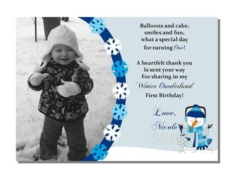 Winter Wonderland Thank You Card - DIGITAL or PRINTED