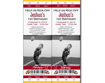 Football Ticket Invitation All Star MVP Birthday Party Red and Yellow - Digital File