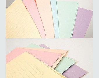 Stationery Letter set (12 Writing Sheets. 6 Envelopes) - Pastel Rainbow color Set