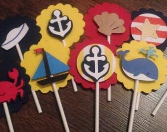 Nautical cupcake toppers (12)
