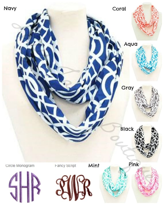 Monogram Vine Scarves (please list monogram and font in comment box)
