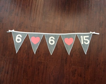 Save the Date, custom (shown in) gray colored burlap banner. 15+ colors of burlap to choose from, Product ID# 2014-015