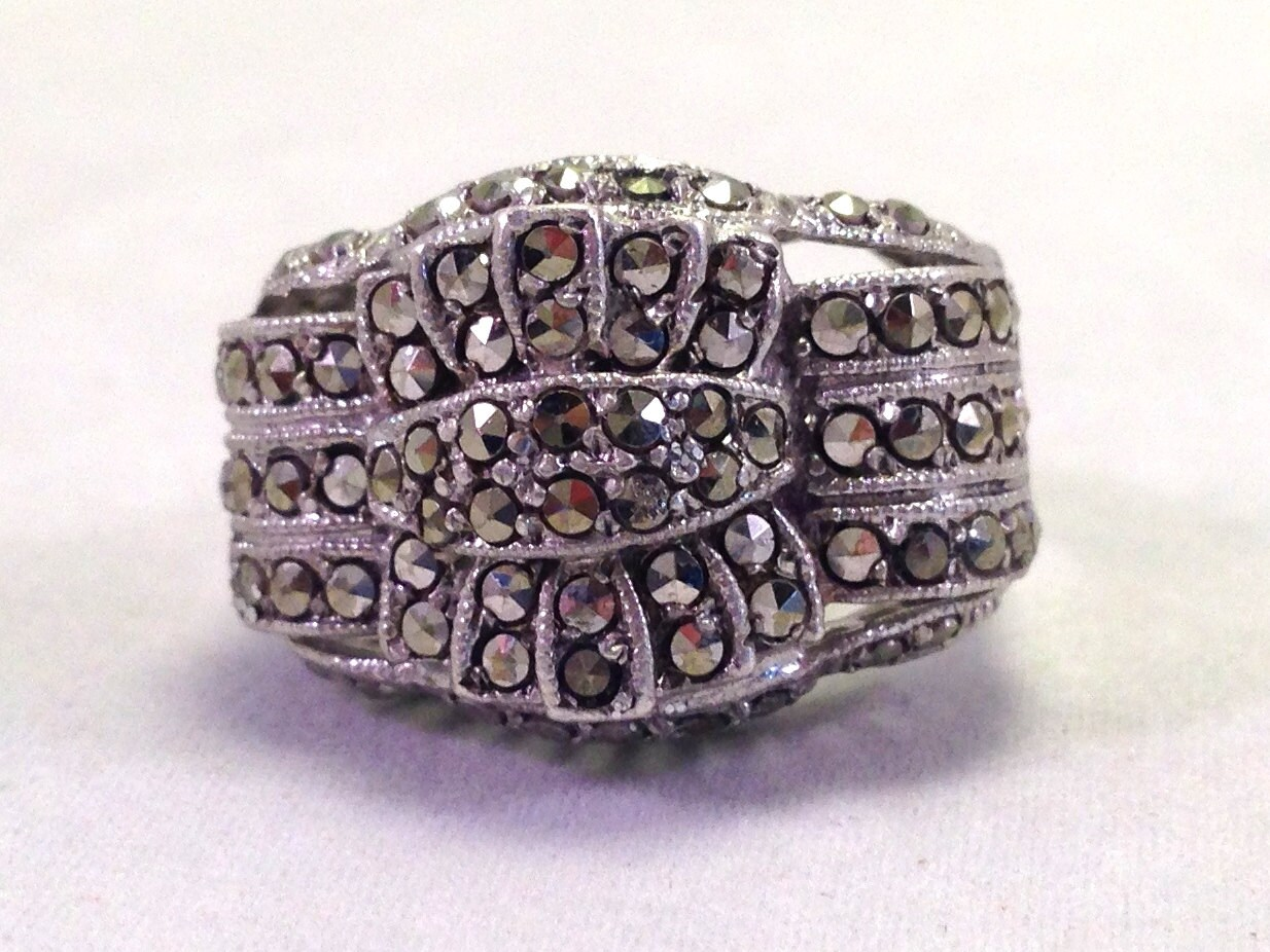 antique ring silver and marcasite ring 1930s deco