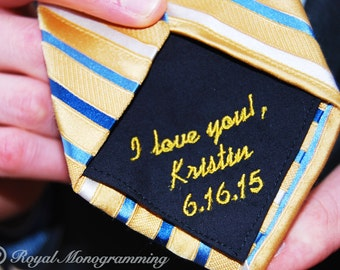 Wedding Tie Patch Monogrammed for Father of the Bride, Groom. Husband to Be! Or Anniversary Gift!