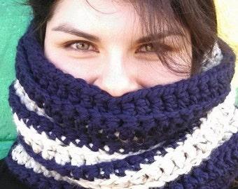 Navy & Oatmeal Crochet Cowl