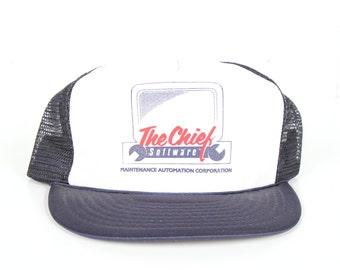 Vintage Blue Trucker Cap / Mens Trucker Hat Cap / The Chief Software Computer Hat Cap / Trucker Cap / Baseball Cap Mens Fishing Hat