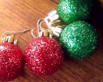 Christmas ornament earrings, Christmas bulb earrings, holiday jewelry