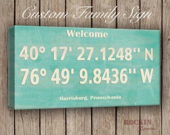 Family Latitude Longitude, Coordinates, GPS Coordinates Sign, Personalized Latitude and Longitude, Location Sign Green Mint Home Decor