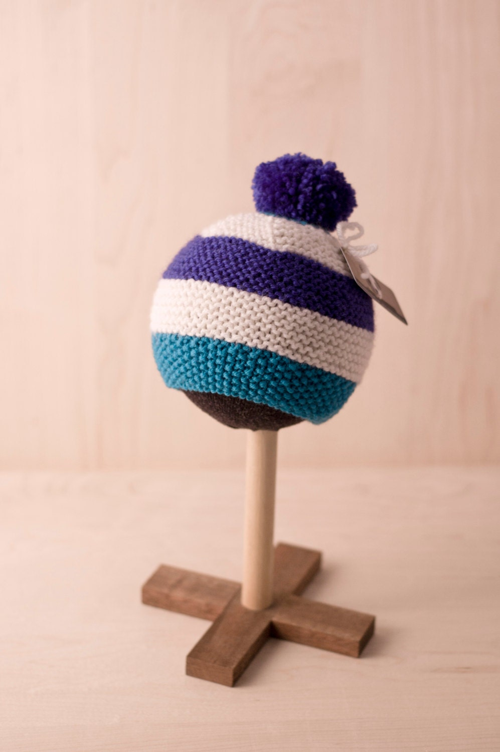 baby pompom knitted striped Bobble hat in blue cream and teal