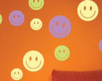 Smiley face Wall Decals - Vinyl Wall Stickers Decals - You will receive 30 decals