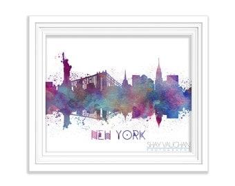 New York City Skyline Art Print New York City Watercolor Print New York City Poster Illustration Cityscape Painting Wall Art Gift (No.131)