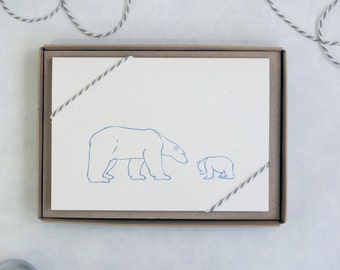 Polar Bear And Cub Letterpress Cards: Pack Of 5