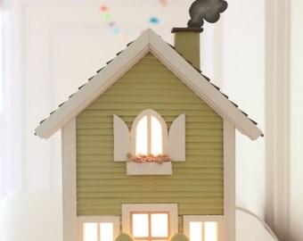 Casita Night Light - Green with chimney - Handmade  **** SPECIAL ORDER ***