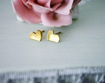 Sweet Heart brass stud earrings (small)