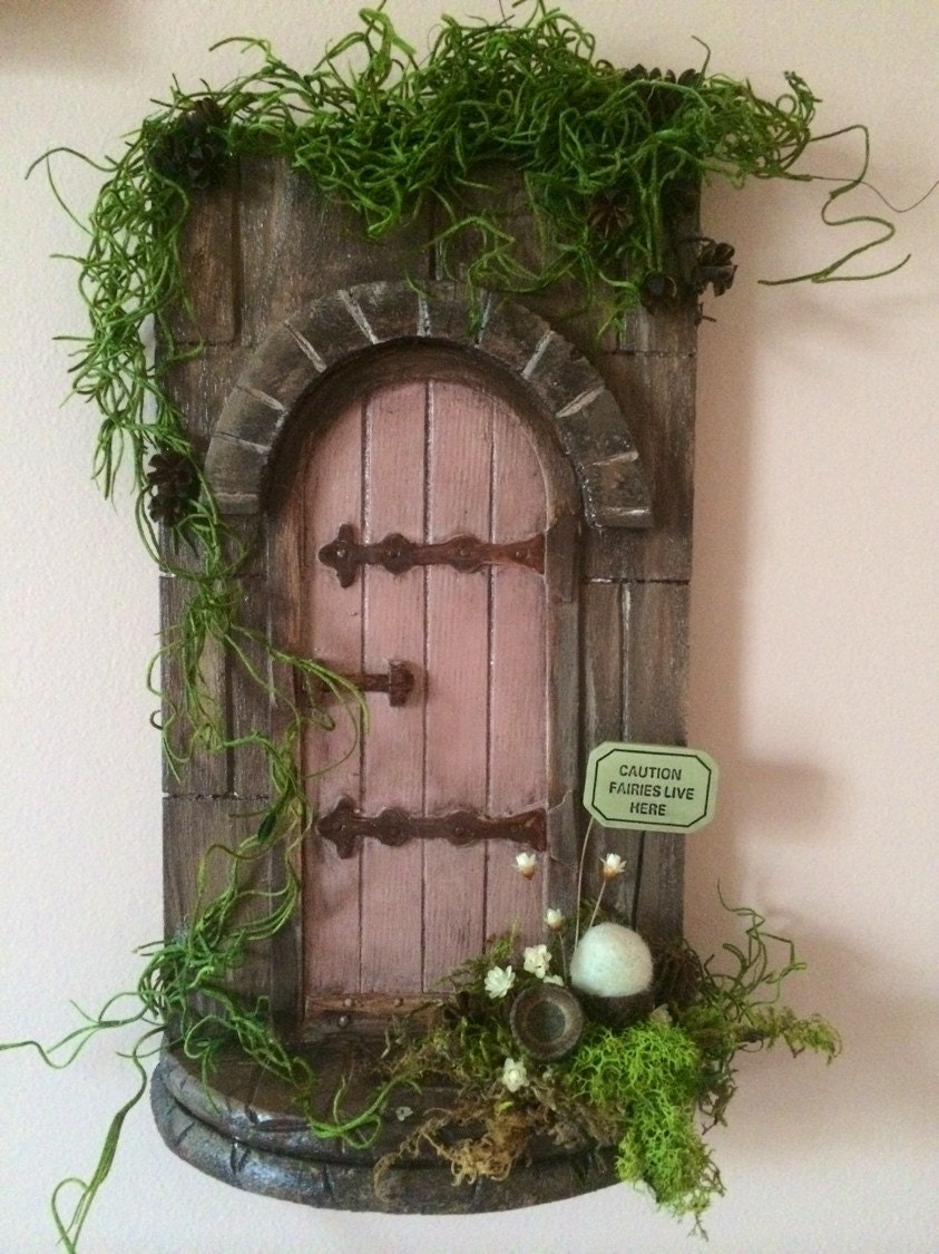 Wooden fairy door wall hanging with moss by thefeltedcottage for Wooden fairy doors