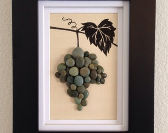 Pebble art, wine grapes, grapevine, wine, green, wall art decor, home decor, tuscany, unique gift, wall hanging