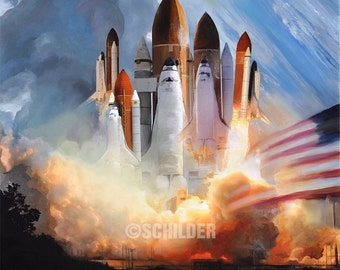 "Into Space Oil Painting 23"" x 22"" Giclee Print on Canvas (Gallery Wrap ready for hanging)."