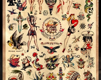 "Sailor Jerry Tattoo Flash #2 -  Poster Print 24""x36"" - Free Shipping in U.S."