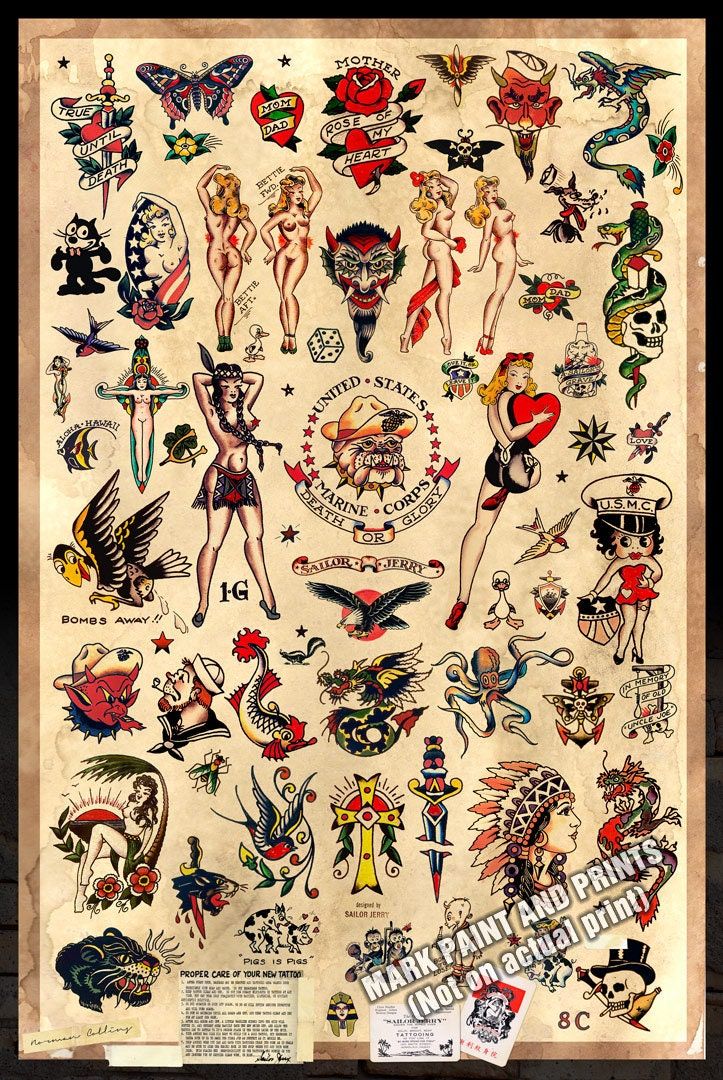 Sailor jerry tattoo flash 2 poster print 24x36 for Sailer jerry tattoo