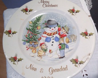 Vintage Churchill Hotelware Christmas Plate From 1992 Merry Christmas Nan & Grandad