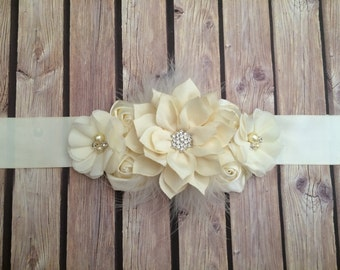Maternity sash, ivory maternity sash, baby shower sash, photo prop, photo prop sash, pregnancy sash, white sash, simple maternity sash,