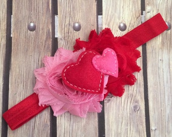 Valentines headband, red and pink headband, heart headband, baby headband, infant headband, valentines day headband, valentines day, pink