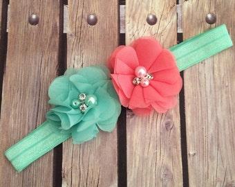 Coral headband, mint headband, elastic headband, halo, Baby bow, rhinestone headband, pearl headband, photo prop, pageant headband, spring