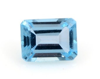 Blue Topaz Octagon Cut Loose Gemstone 1A Quality 8x6mm TGW 1.80 cts.