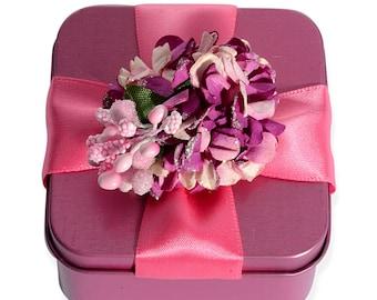 Gift Box Ring Square Pink