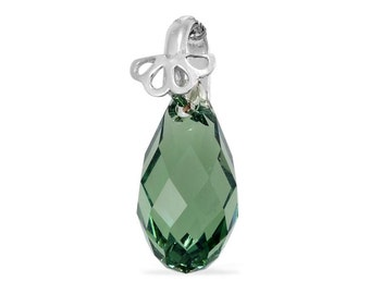 Green SWAROVSKI Briolette Crystal Pendant in Sterling Silver Nickel Free Without Chain TGW 7.65 cts.